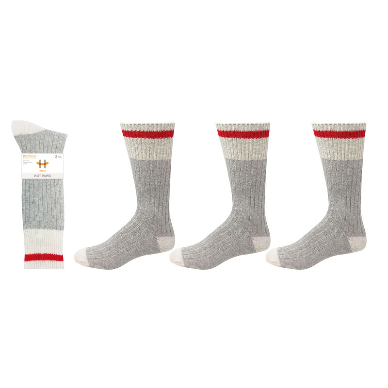 Hot Paws Wool Work Socks - Grey - Size 10-13