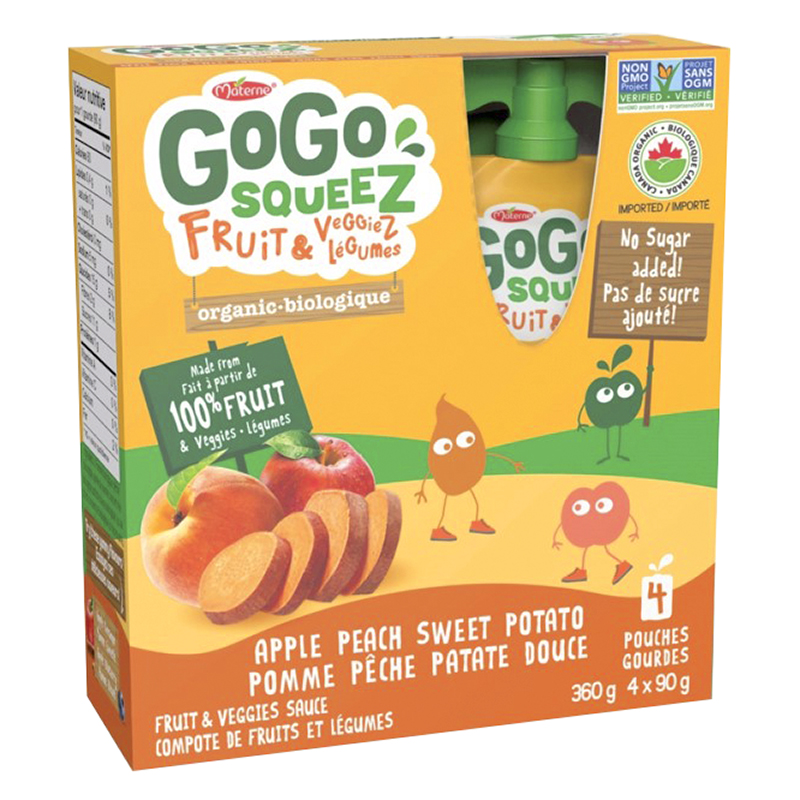 Gogo Squeez Apple/Sweet Potato/Peach Applesauce - 4 x 90g