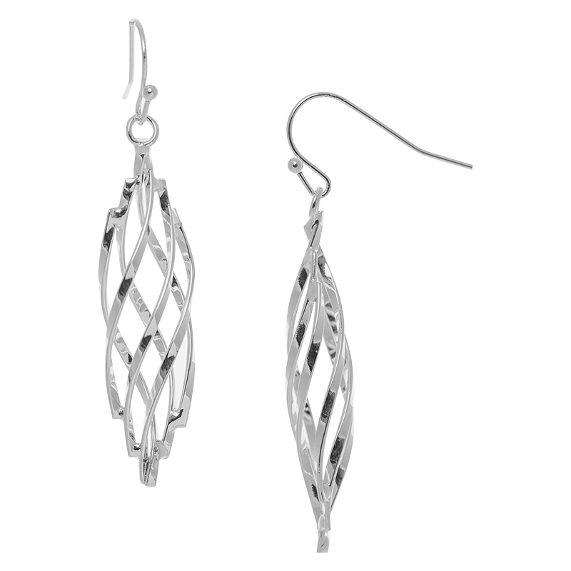Dash of Gold Twisted Earrings - Silver Tone