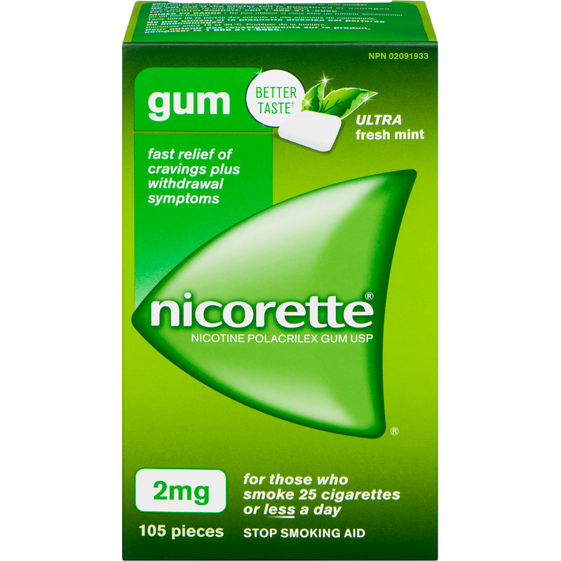 Nicorette Nicotine Gum Stop Smoking Aid - Ultra Fresh Mint - 2mg - 105's