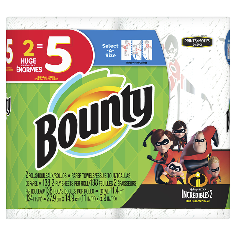 Bounty Paper Towels Select-A-Size - Incredibles2 Print - 2 rolls