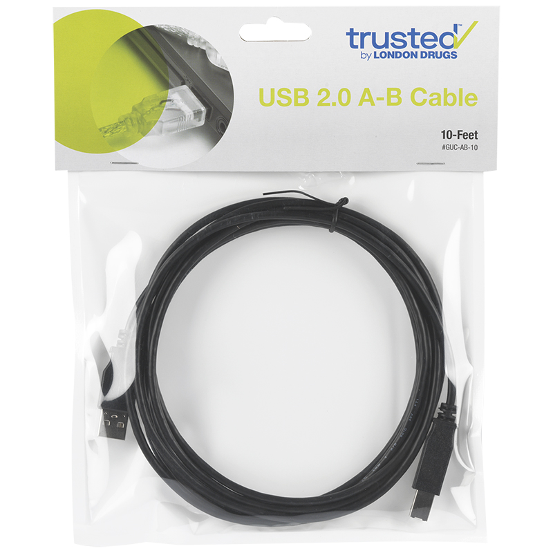 Certified Data USB 2.0 A-B Cable - 3.04 Meters (10 ft)