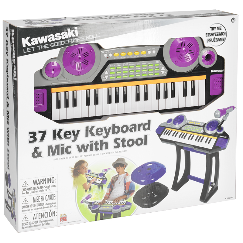 Kawasaki 37 Key Keyboard with Stool and Microphone