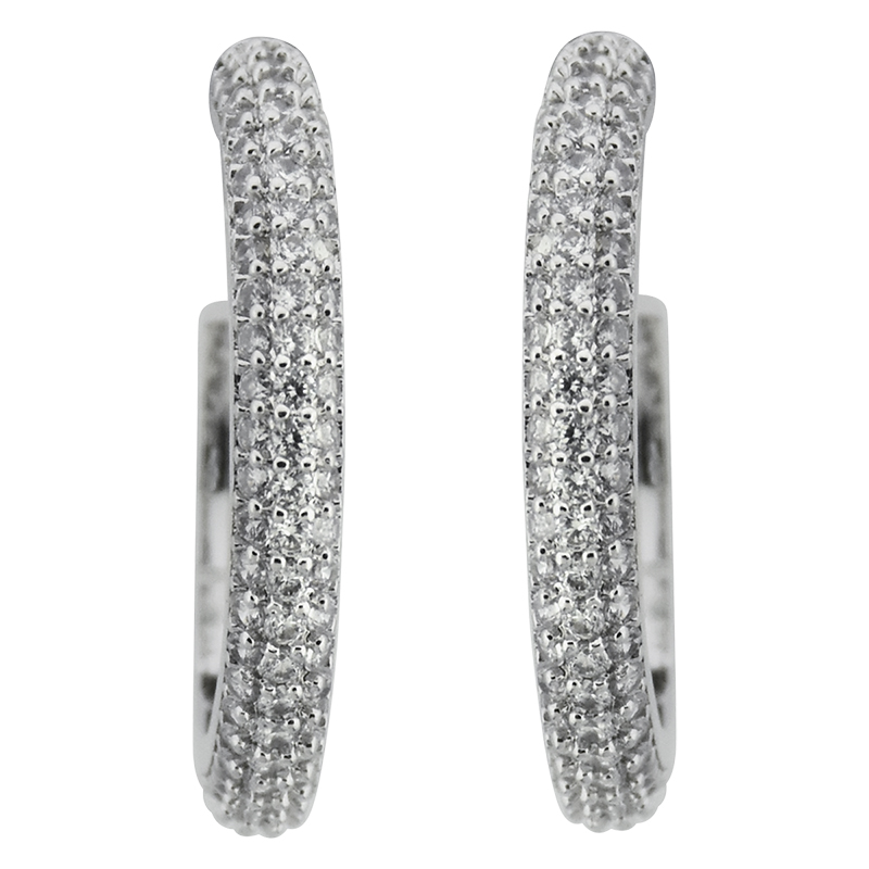 Puccini Cubic Zirconia Pave Hoop Earrings