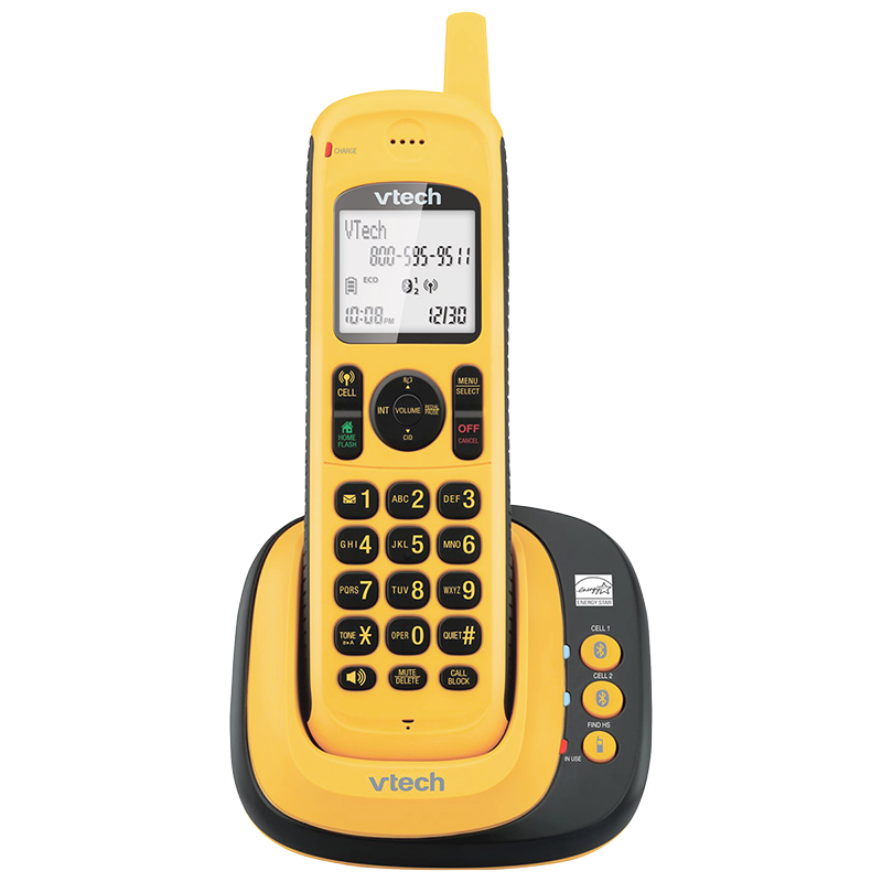 VTech 1 Handset Waterproof Cordless Phone with Bluetooth - Yellow - DS6161