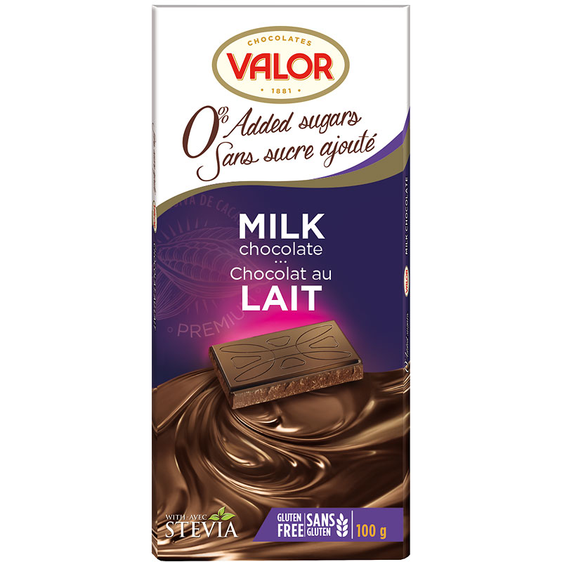 Valor Milk Chocolate - No Sugar Added - 100g