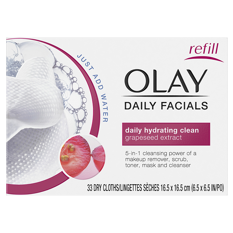 Olay Daily Facials 5-in-1 Dry Cloths - Daily Hydrating Clean - 33's