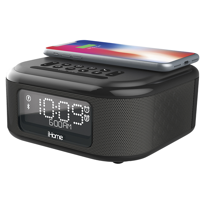 iHome Dual Alarm Bluetooth Clock with Wireless Charging - Black - IBTW23BC