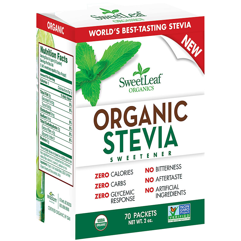 SweetLeaf Organic Stevia Sweetener - 70 Packets