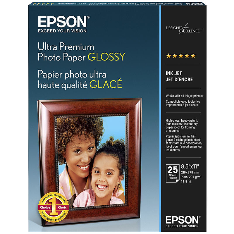 Epson Ultra Premium Photo Paper - Glossy - 8.5 x 11inch - 25 sheets