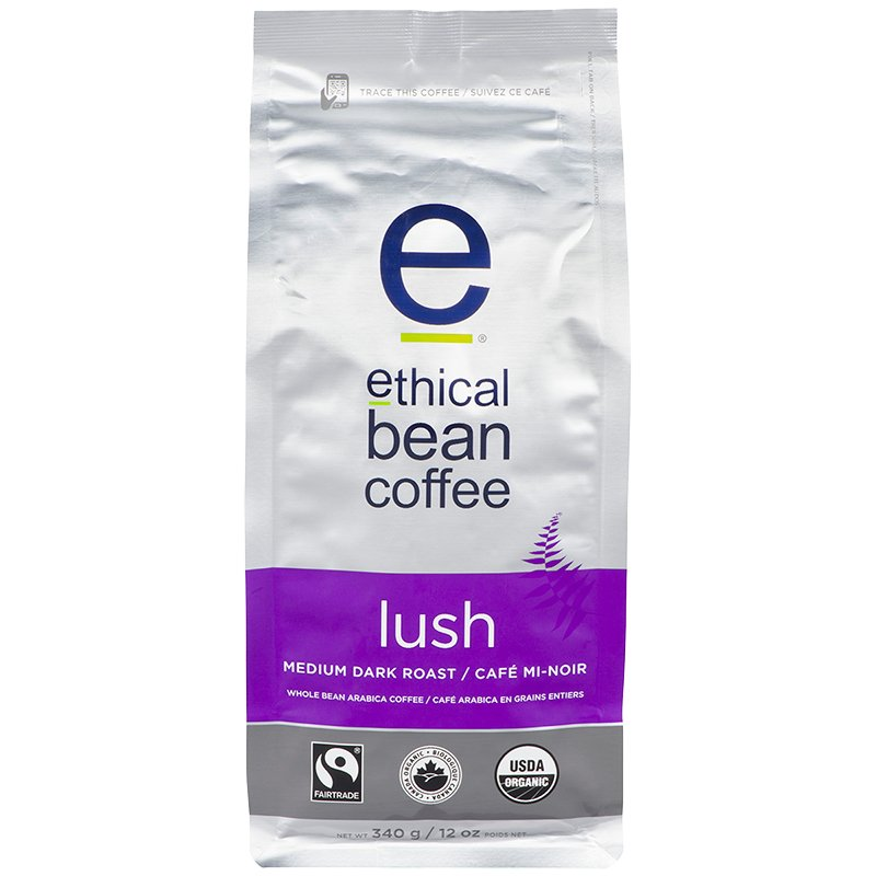 Ethical Bean Coffee - Lush Medium Dark Roast - Whole Bean - 340g
