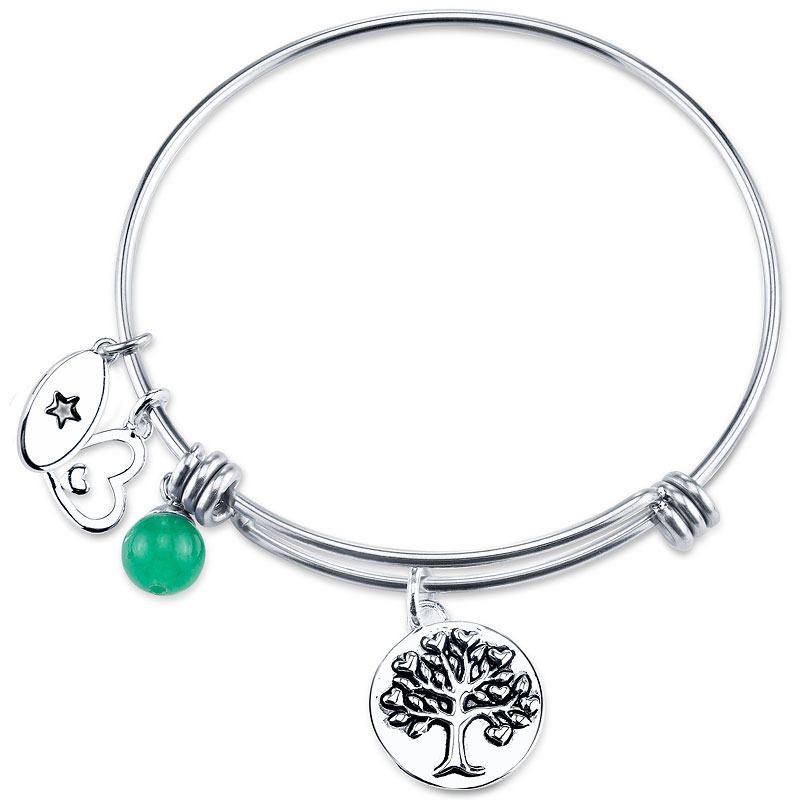 UNWRITTEN Stainless Steel Family Love Hope Expandable Bangle