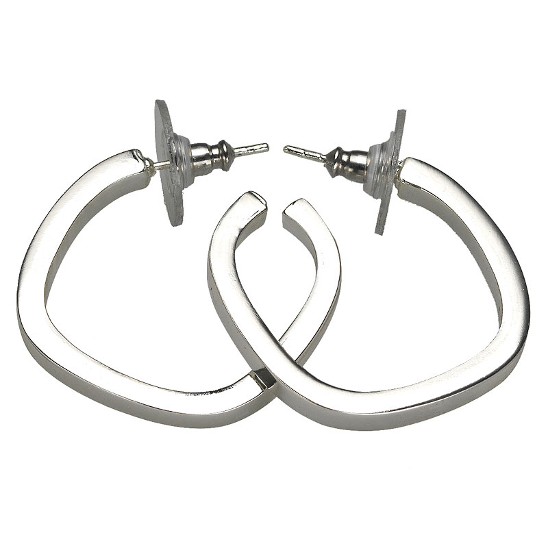 Haskell Silver Squared Hoop Earrings