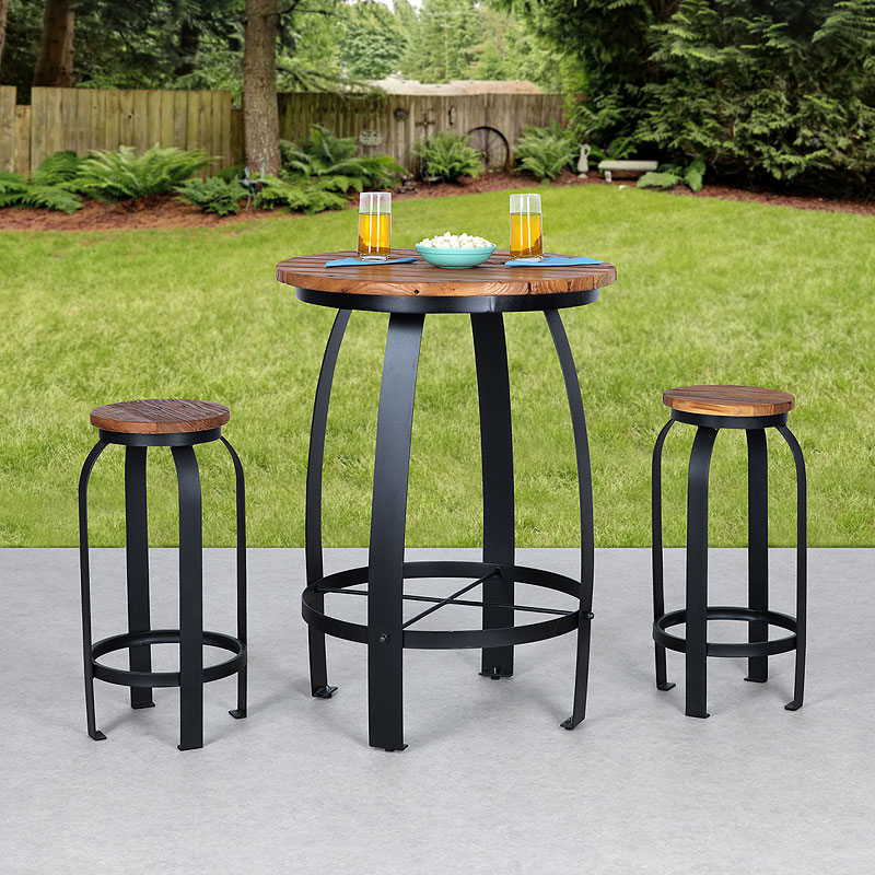 Elmwood Outdoor Bar Table and Chair Set - 3 piece