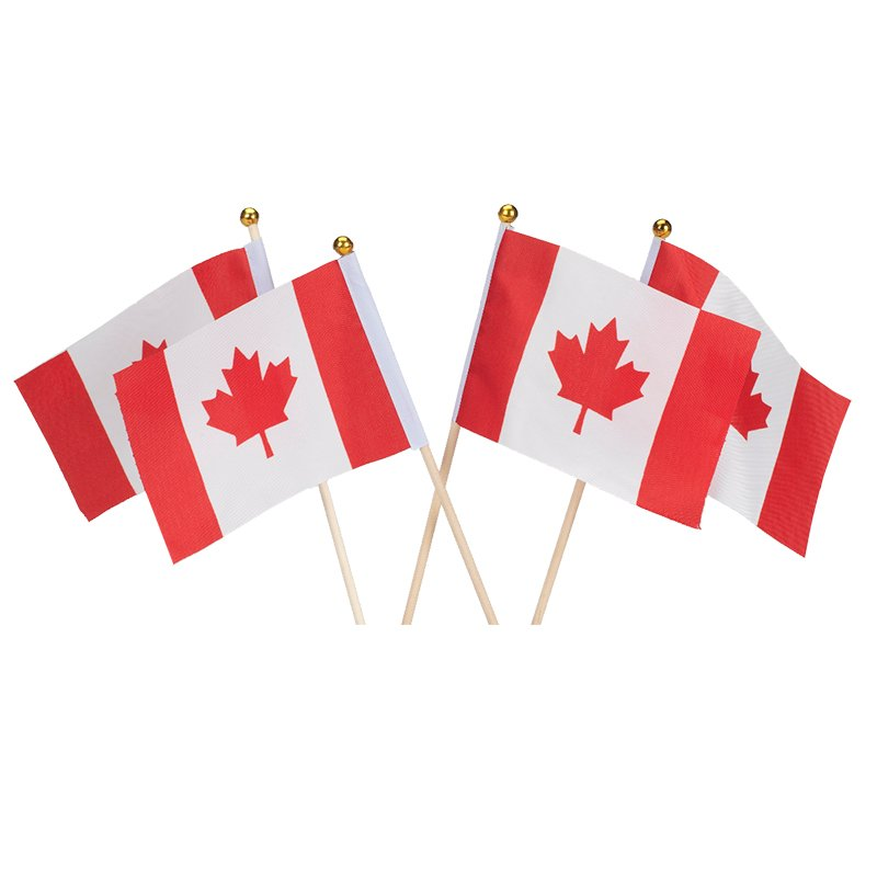 Canadian Flag with Pole - 4 pack