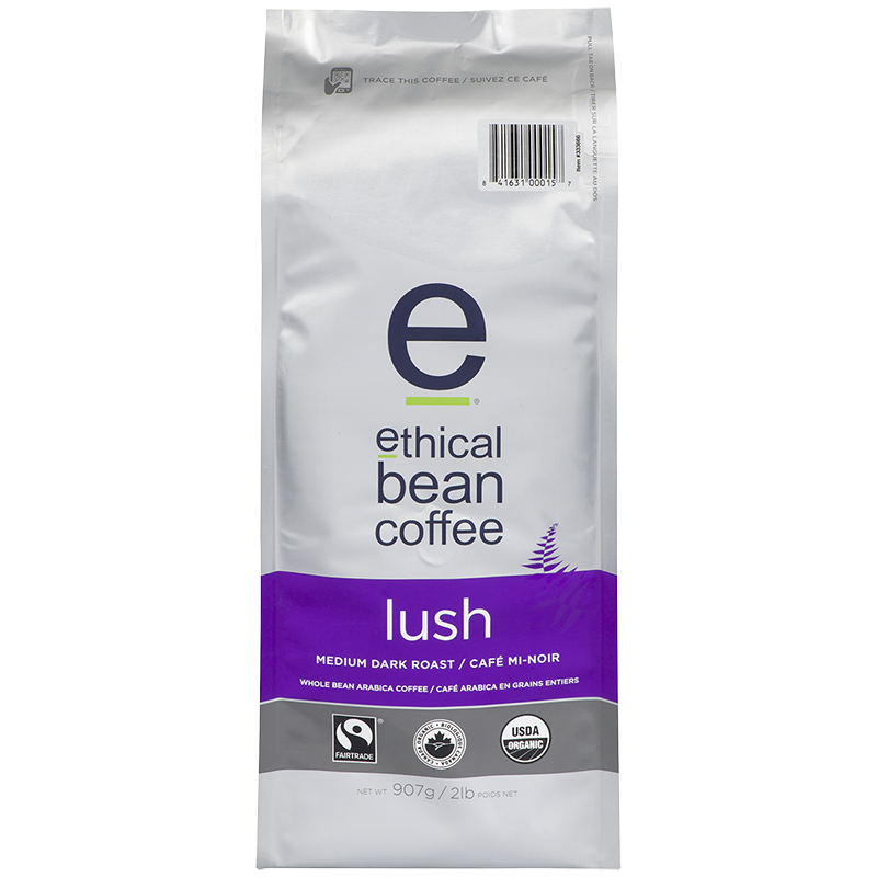 Ethical Bean Coffee - Lush Medium Dark Roast - Whole Bean - 908g