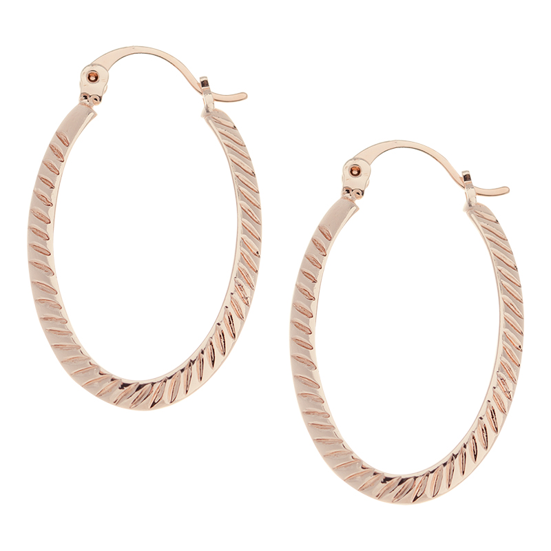 Danori Gold Oval Pattern Textured Hoop Earrings - Rose Gold