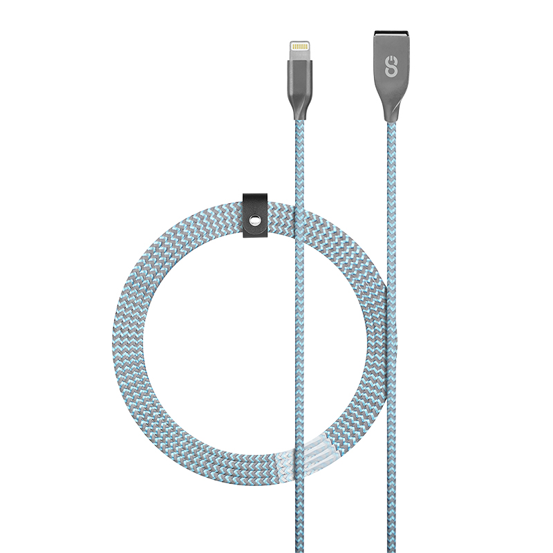 Logiix Piston Connect Braid+ USB-A to Lightning Cable - Ice Blue - LGX12672