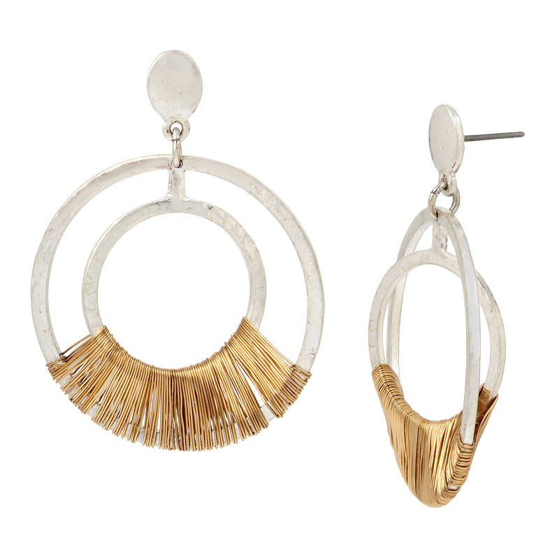 Robert Lee Morris Wire Wrap Orbital Earrings - Two Tone