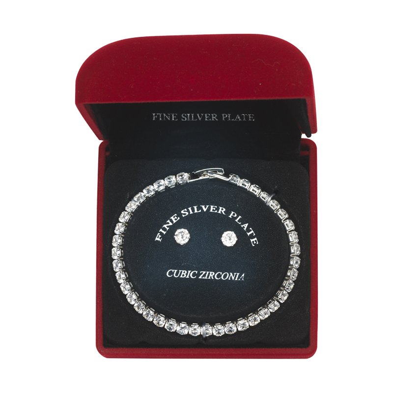 Danecraft Cubic Zirconia Bracelet & Earrings Box Set