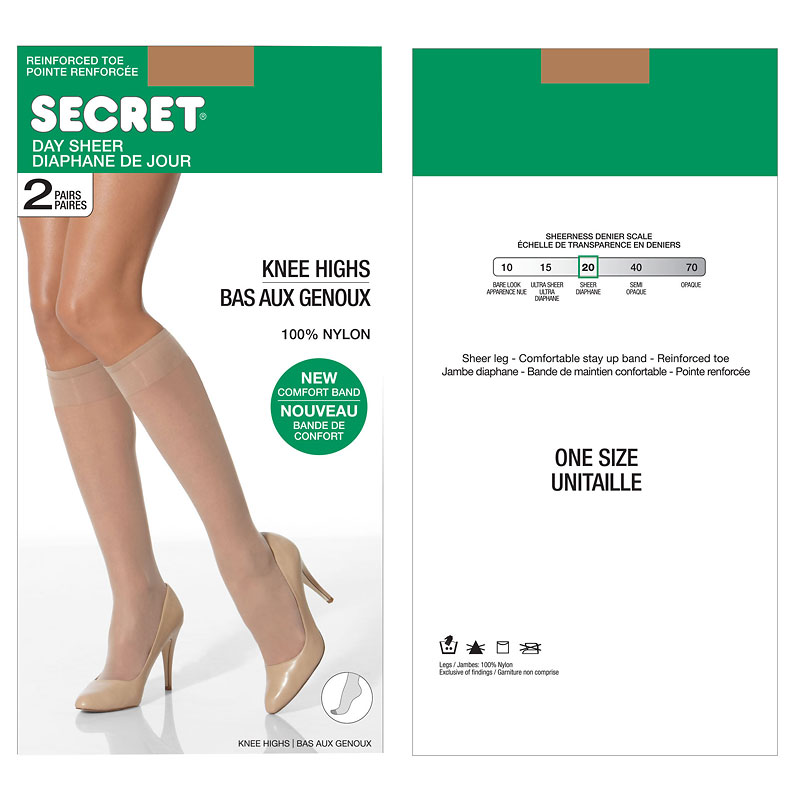 Secret Knee Highs with Reinforced Toe - Beige -One Size - 2 pair