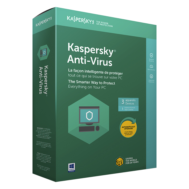 Kaspersy Anti-Virus  2019 - 3 Devices/1 Year