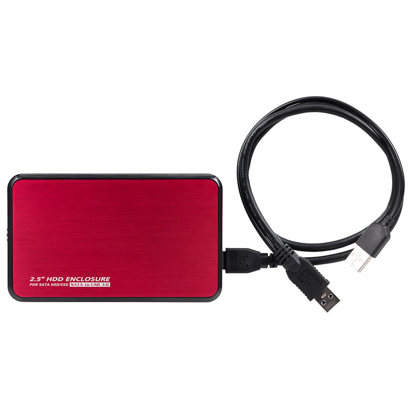 Certified Data 2.5 inch Hard Drive Enclosure Case - Red - USB 3.0 - EB-2506-U3RD