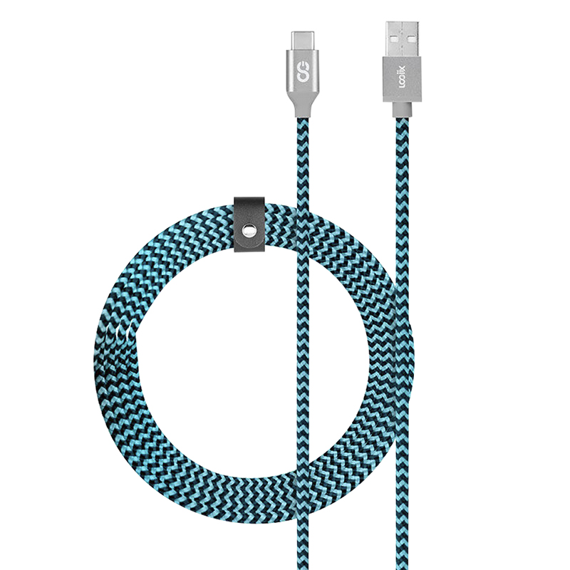 Logiix Piston Connect Braided USB-C Cable - Blue/Black - LGX12656