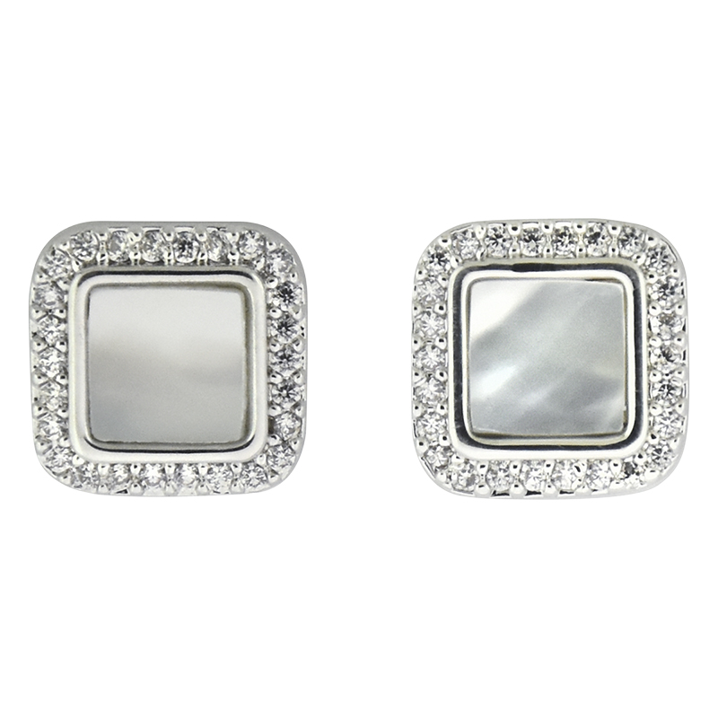 Puccini Cubic Zirconia Square Earrings - Rhodium
