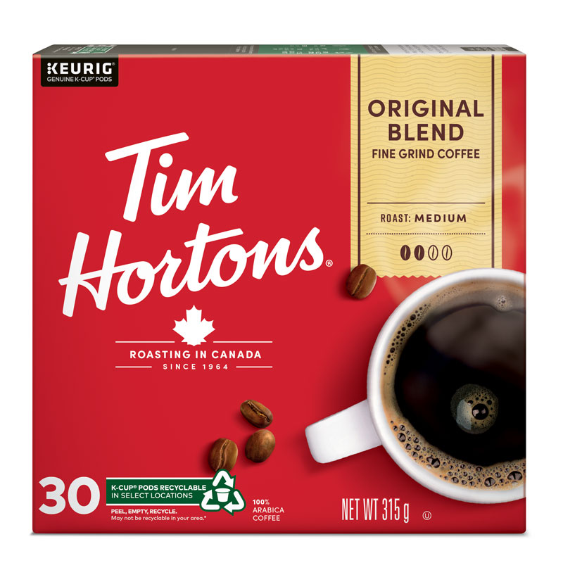 K-Cup Tim Hortons Coffee - Original Blend - 30 Servings