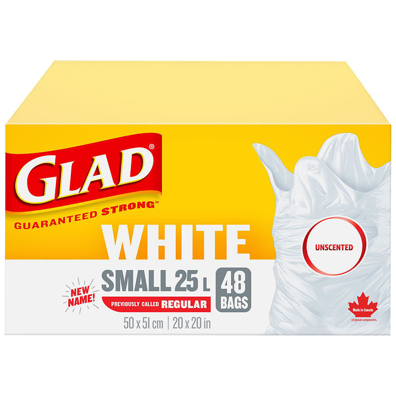 Glad White Garbage Bags - Unscented - 25L/48's