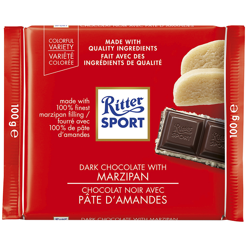 Ritter Sport - Dark Chocolate with Marzipan - 100g