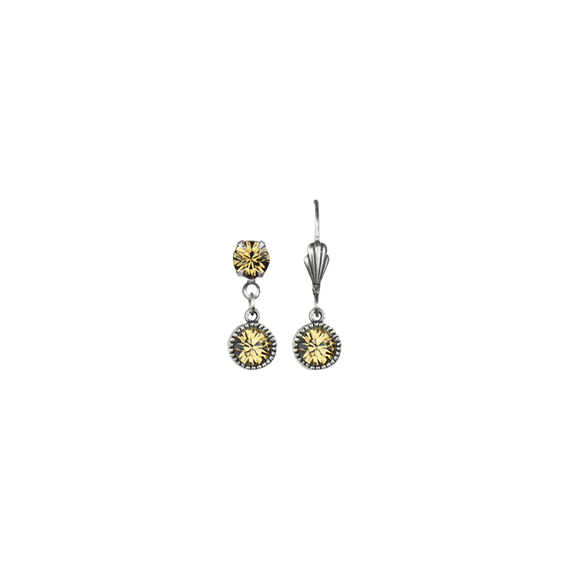 Anne Koplik Drop Bezel Brass Earrings - Yellow