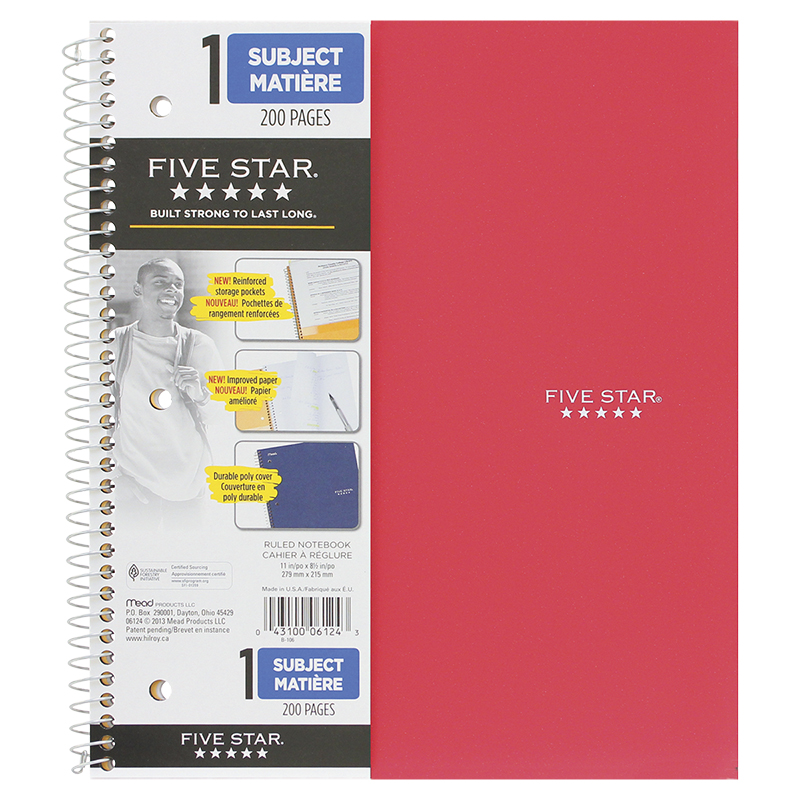 Five Star Coil Exercise Book - 200 Pages - Assorted
