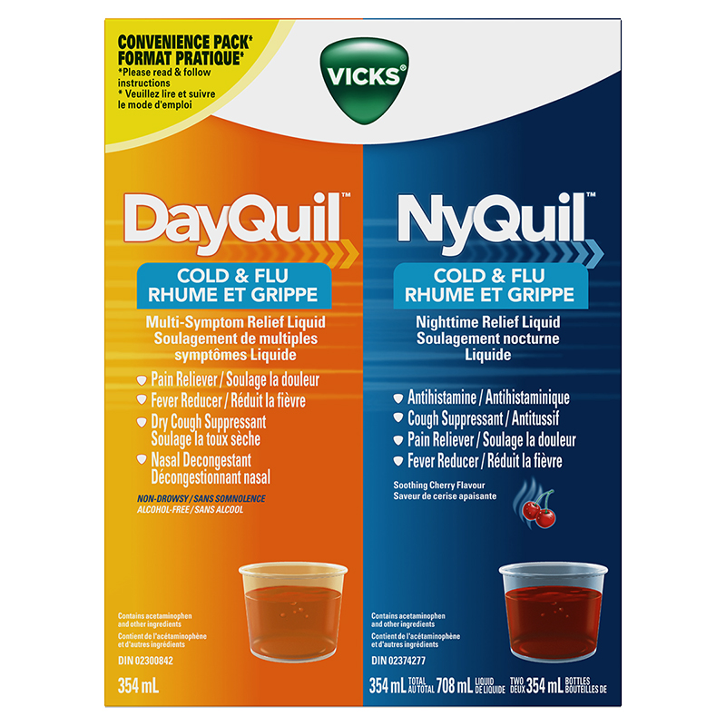 vicks dayquil nyquil cold flu 2 x 354ml london drugs