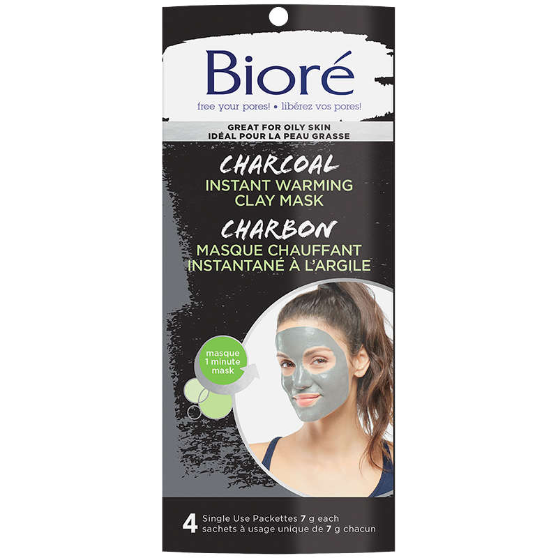 Biore Charcoal Instant Warming Clay Mask - 4 x 7g