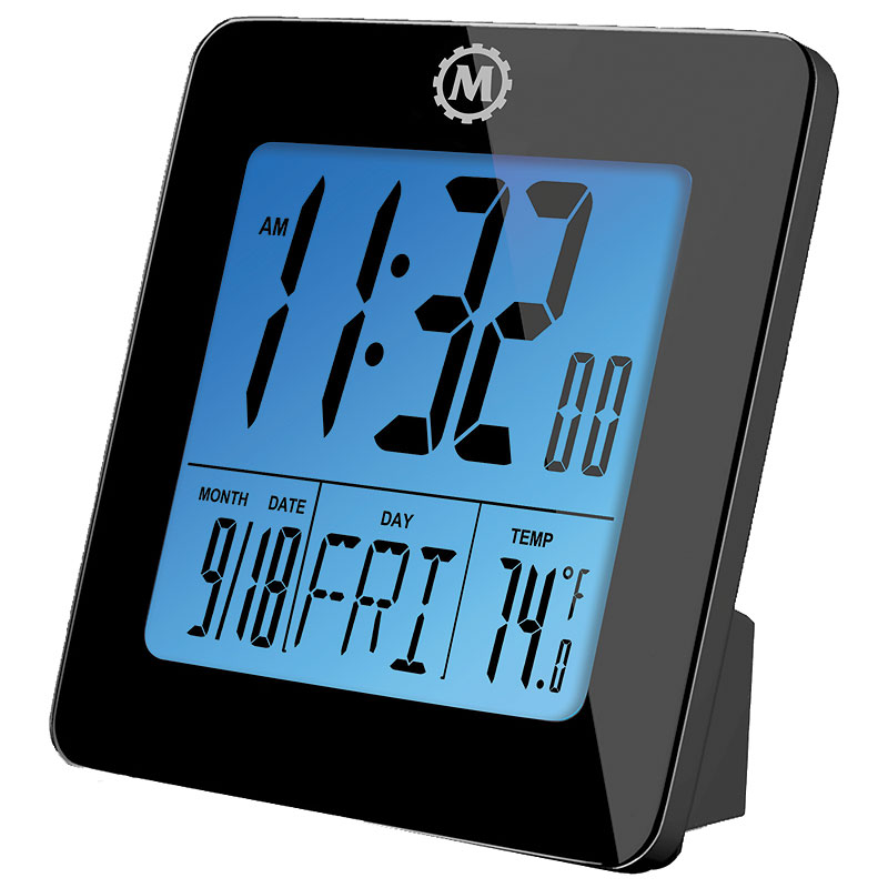 Marathon Digital Desk Clock Black Cl030050bk