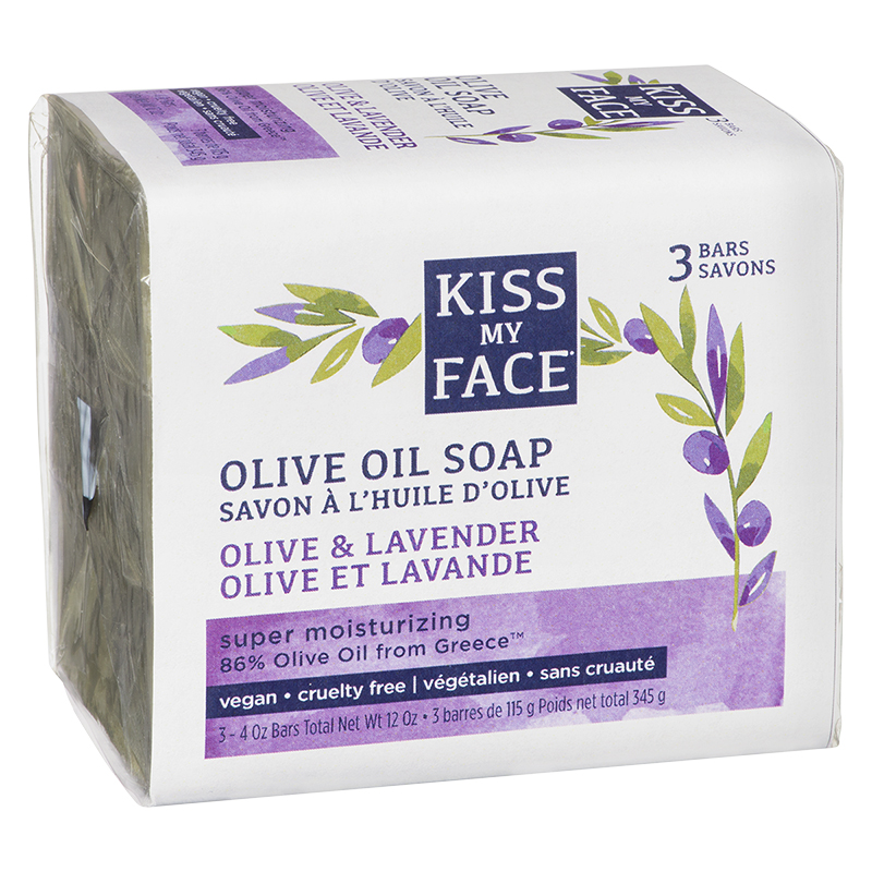 Kiss My Face Soap Olive Oil Soap - Olive & Lavender - 3 x 115g