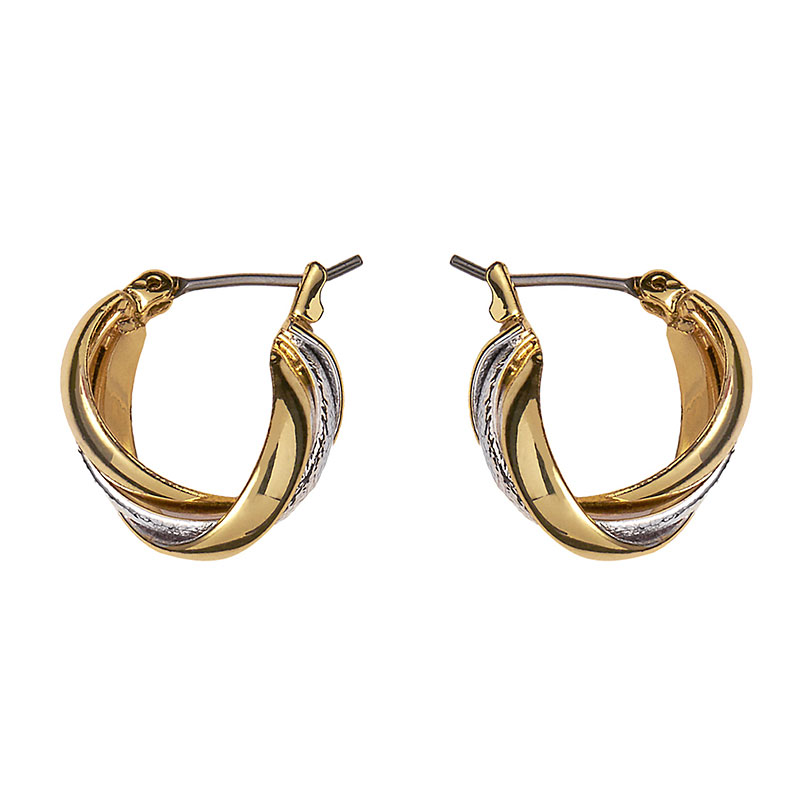 Anne Klein Small Twist Hoop Earrings - Gold/Silver