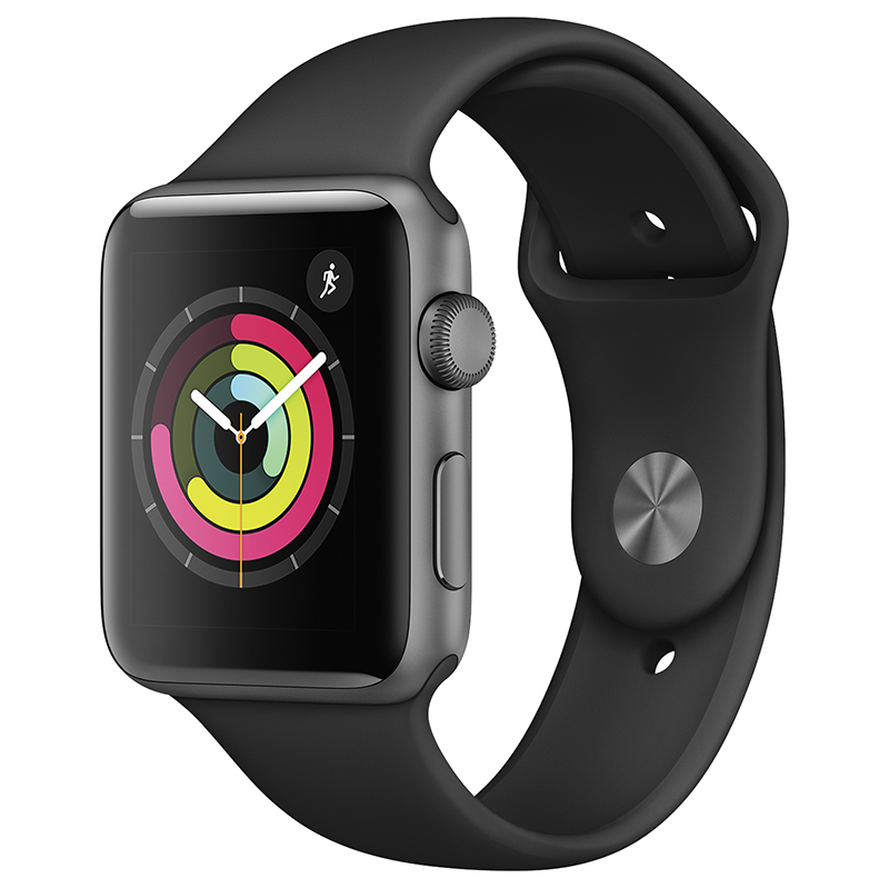 Apple Watch Series 3 - GPS - 42mm - Space Grey/Black Sport Band  - MTF32CL/A