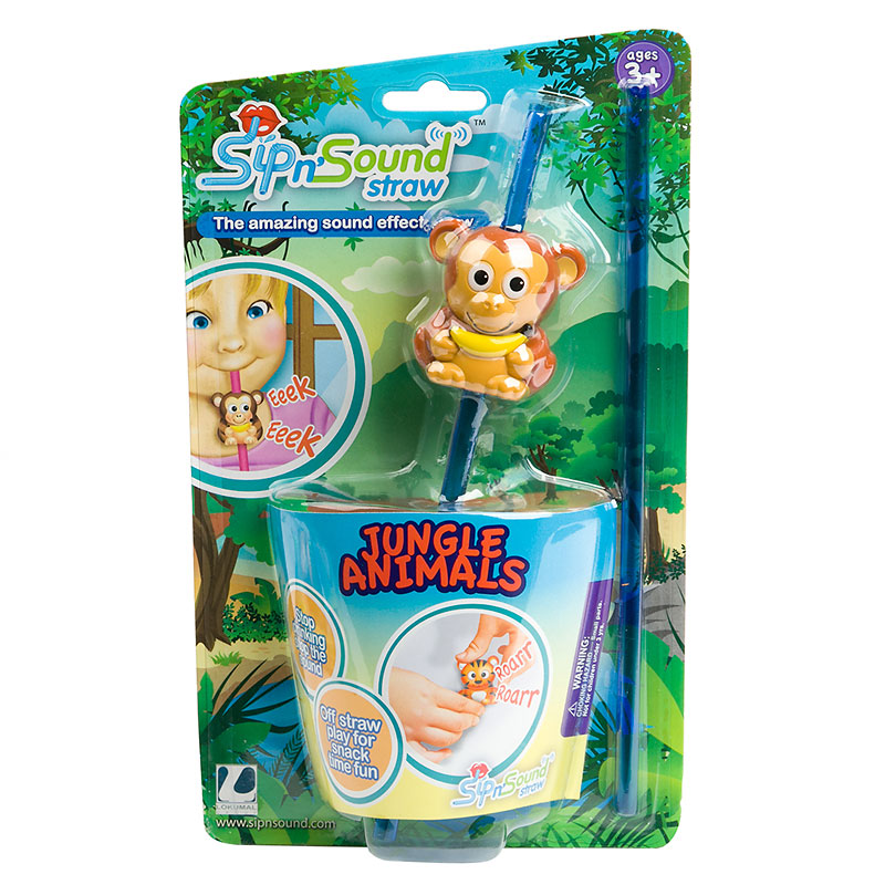 Sip N Sound Straw - Jungle Animals - Assorted