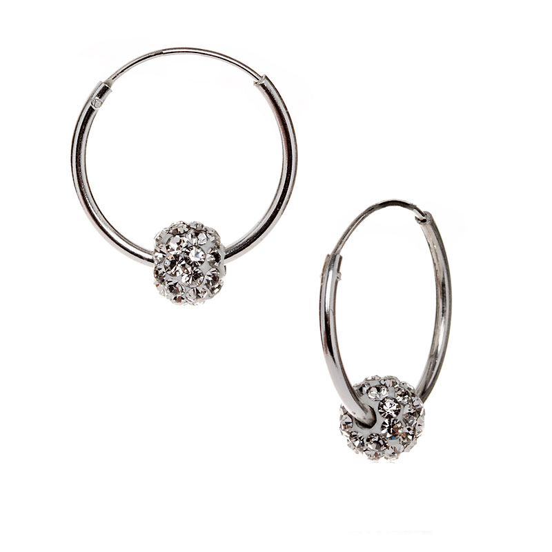 Charisma Stainless Steel Crystal Ball Earrings
