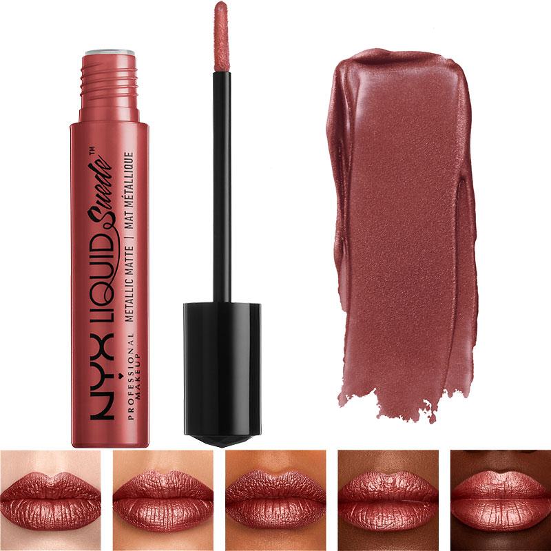 Nyx Professional Makeup Liquid Suede Metallic Matte Lipstick Bella