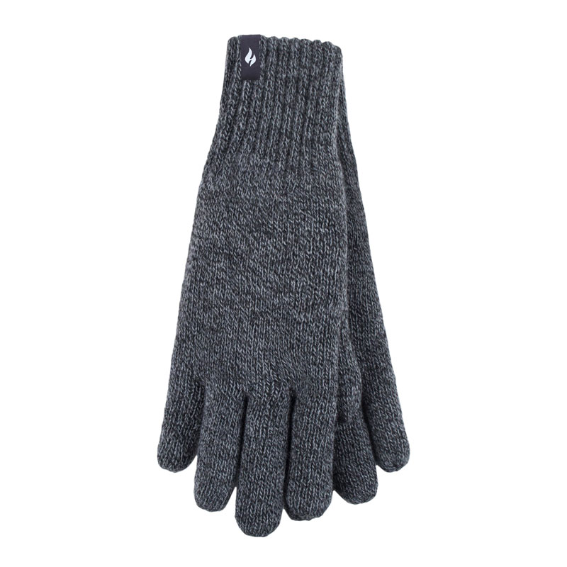Heat Holders Men's Knit Gloves - Charcoal- Large
