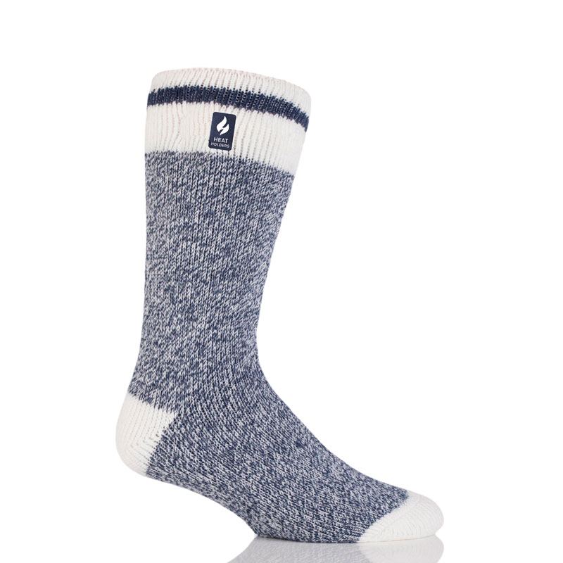 Heat Holders Men's Block Twist Crew Sock - Navy