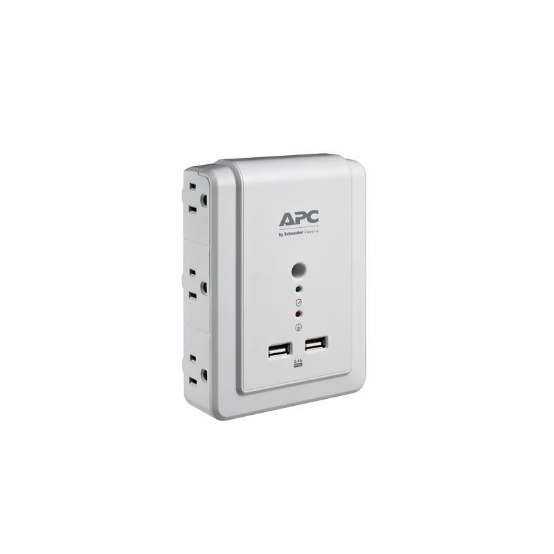 APC Essential SurgeArrest Wall Mount Power Bar - 6 Outlets - 2 USB - P6WU2