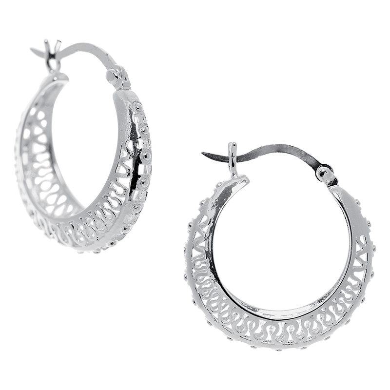 Silver Linings Small Filigree Hoop Earrings - Silver Tone