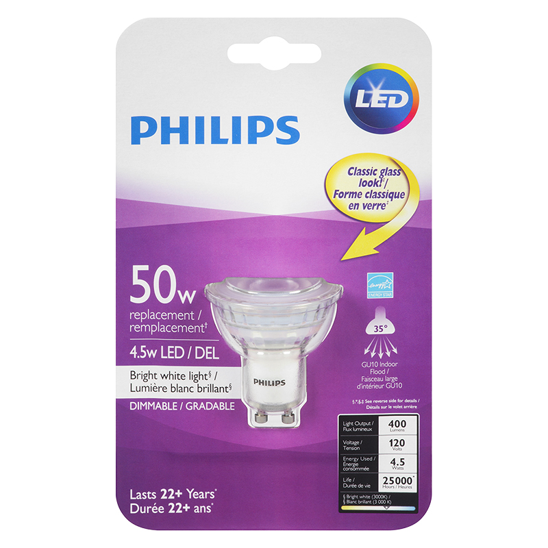 Philips GU10 LED Light Bulb - Bright White - 4.5w/50w