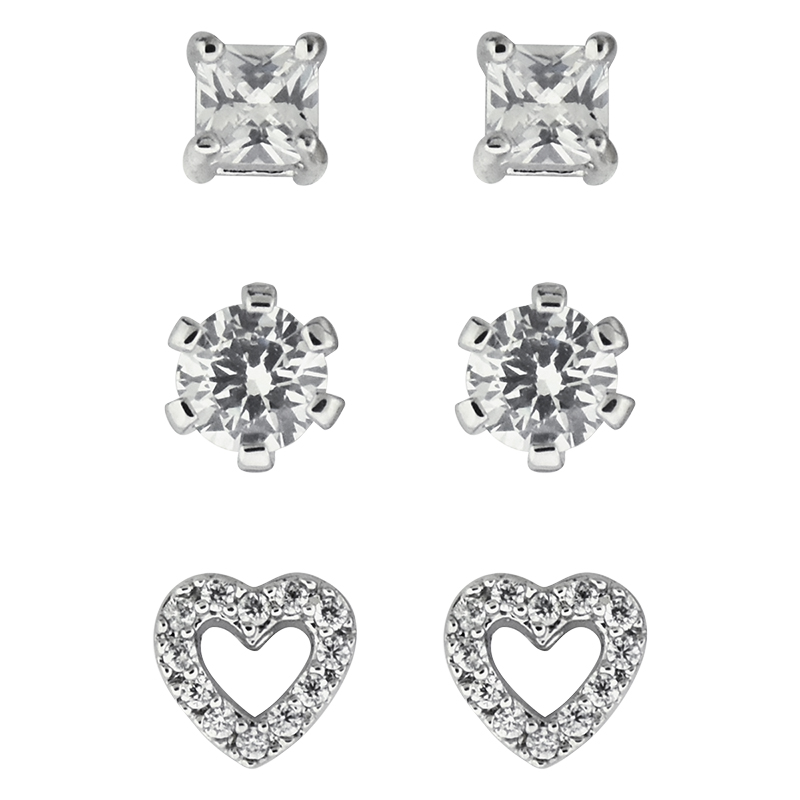 Puccini Cubic Zirconia Trio Earring Set - AE3206
