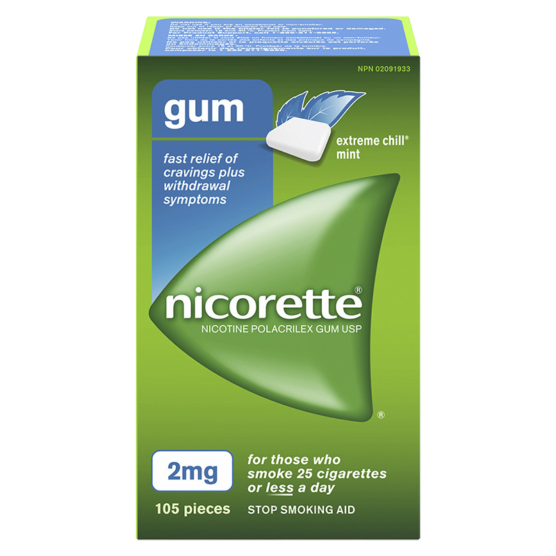 Nicorette Nicotine Gum Stop Smoking Aid - Extreme Chill Mint - 2mg - 105's